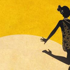 Piirretty flapper-tanssijan siluetti keltaisella taustalla.